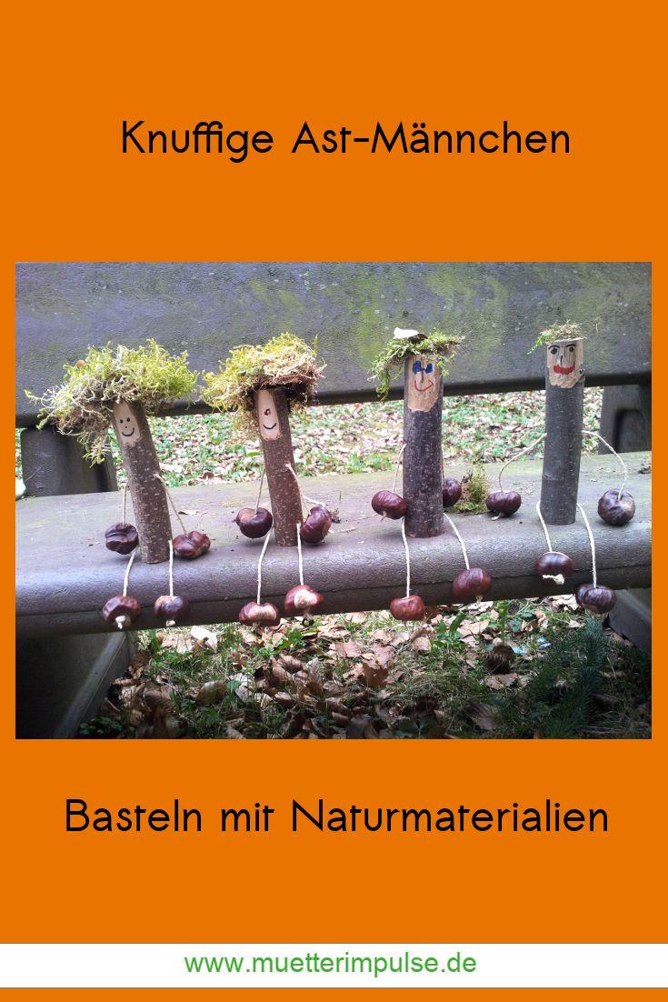 DIY, Basteln, Naturmaterialien, Ast-Männchen, Kastanien