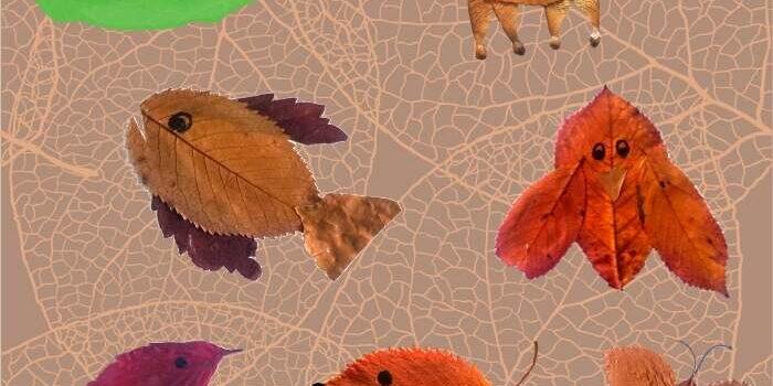 Lustige Tiere aus Herbstlaub basteln mit Kindern
