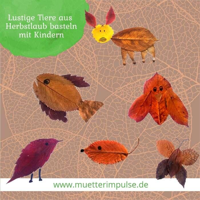 Tiere aus Herbstlaub basteln mit Kindern